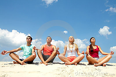 Meditating friends