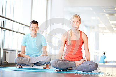 Meditating in gym