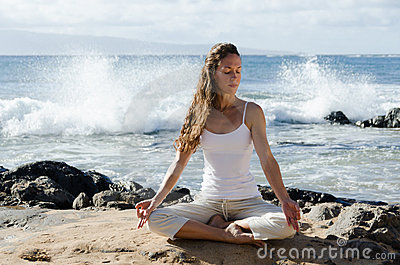 Meditating by the Ocean