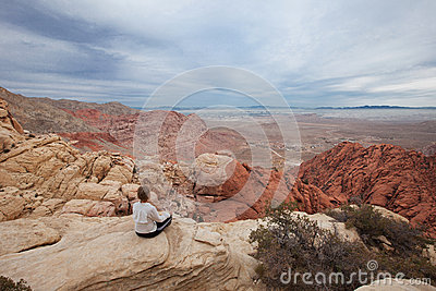 Meditating over Las Vegas Editorial Stock Image