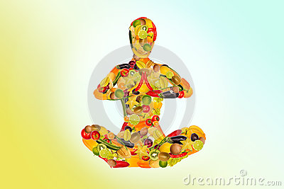 Meditating woman from fruit and vegetables