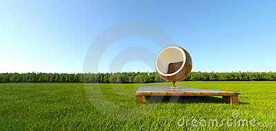 Meditation ball chair at grass field