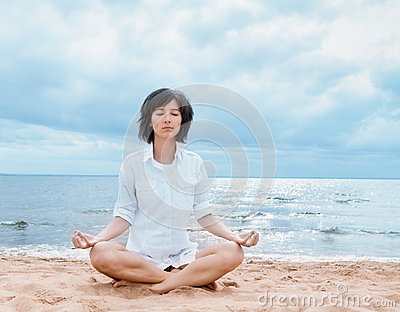meditation on the beach stock photo  image 33622840