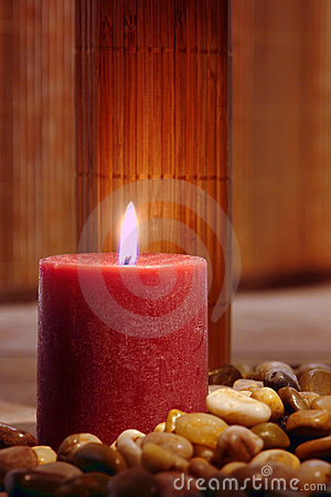 Meditation Candle Burning in Eastern Spiritual Set