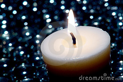 Meditation Candle Burning in New Age Zen Decor