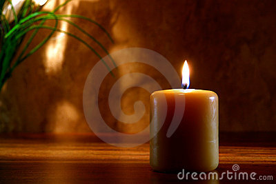 Meditation Candle Burning in Religious Ceremony