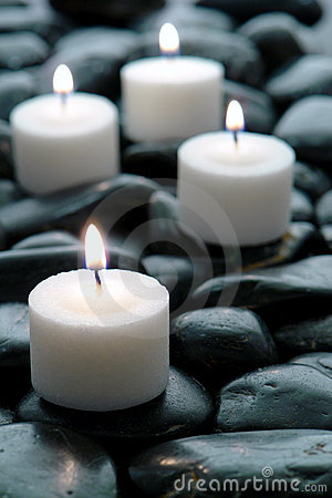 Meditation Candles Burning on Black Stone Zen Path