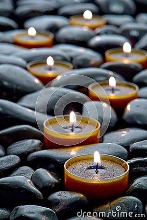 Meditation Candles Burning on Black Stone Zen Path
