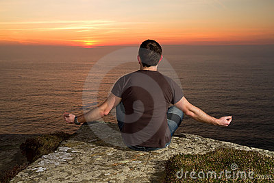 Meditation on Cliffs at sunset