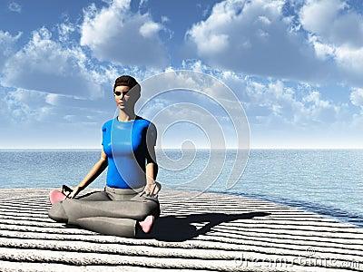Meditation on cloudy beach