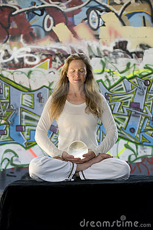 Meditation With Crystal Ball And Graffiti