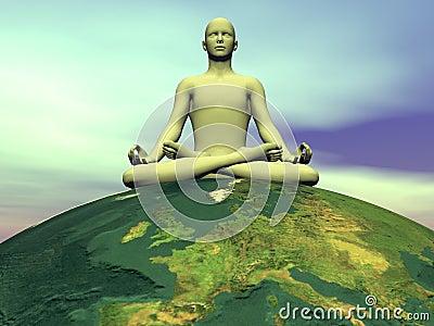 Meditation for the earth - 3D render
