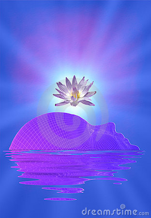 Meditation face and lotus