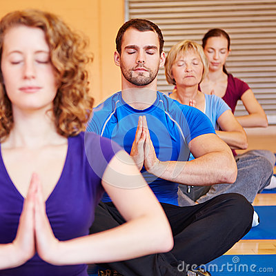 Meditation in a group in fitness