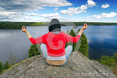 Meditation in idyllic scenery of Sweden