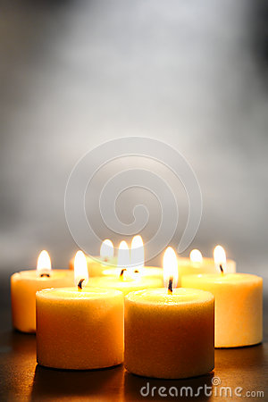 Free Meditation Or Relaxation Votive Candles With Smoke Royalty Free Stock Photo - 26381235