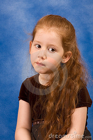 Meditation Portrait of redhead girl with long hair
