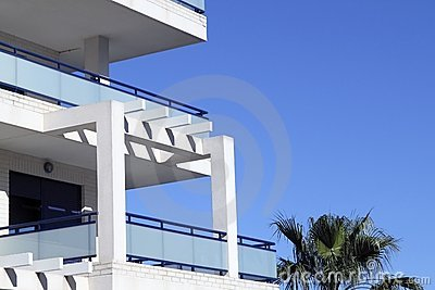 Mediterranean architecture detail white and blue