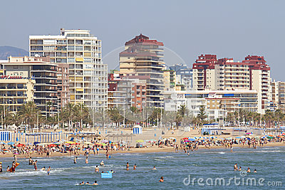 Mediterranean beach crowded with tourists Editorial Photography