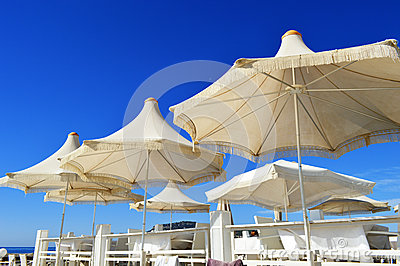 Mediterranean beach during hot summer day