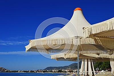 Mediterranean beach during hot summer day