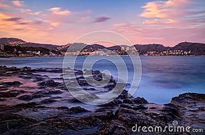 Mediterranean coast at sunset