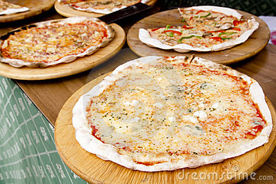 Mediterranean colorful thin pizza baked food