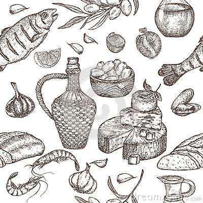 Mediterranean cuisine seamless pattern. Vector Illustration