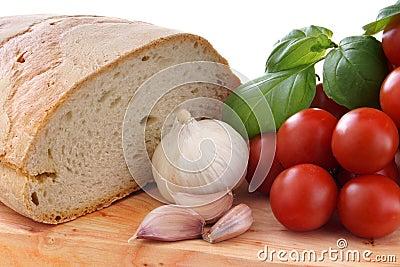 Mediterranean gastronomy whit tomato onion bread