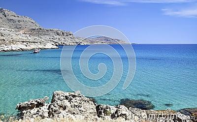 Mediterranean landscape with azure sea, Rhodes island - Greece