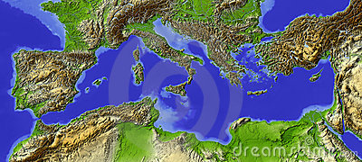 Mediterranean, relief map