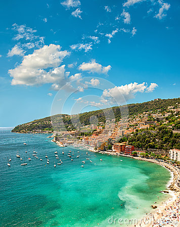 Free Mediterranean Sea Bay. Villefranche, French Riviera, France Stock Photo - 54443770