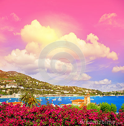 Free Mediterranean Sea Landscape Fantastic Sunset Sky. French Riviera Royalty Free Stock Photos - 70019968
