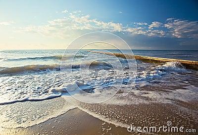 Mediterranean sea in the morning in October.