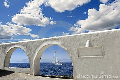 Mediterranean sea view white archs architecture