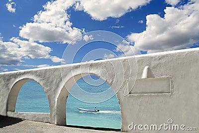 Mediterranean sea view white archs architecture