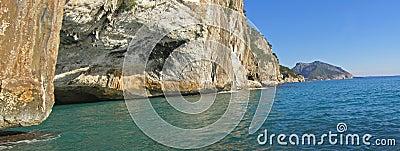 Mediterranean seal cave and Orosei Gulf panorama