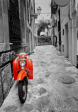 Mediterranean street with retro scooter