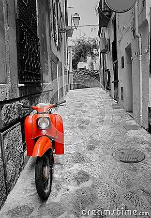 Mediterranean street with retro scooter
