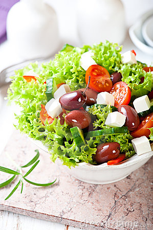 Mediterranean-style salad with goat cheese