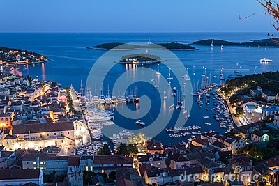 Mediterranean town Hvar at night