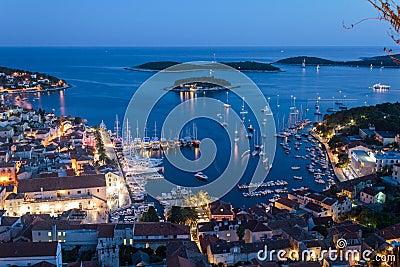Mediterranean town Hvar at night