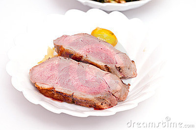 Medium done roasted duck breast
