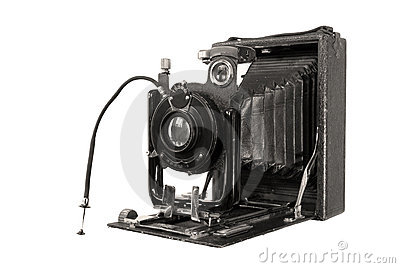 Medium format retro camera on white backg