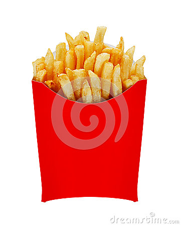 Medium Fries In Box Isolated On White Royalty Free Stock ...