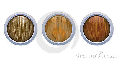 Medium glossy wooden buttons with a metal ring