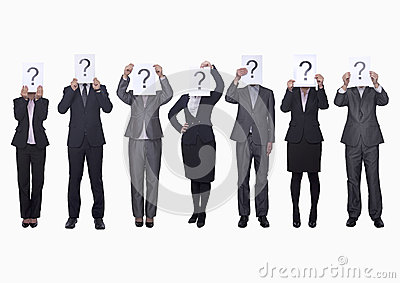 Medium group of business people in a row holding up paper with question mark, obscured face, studio shot