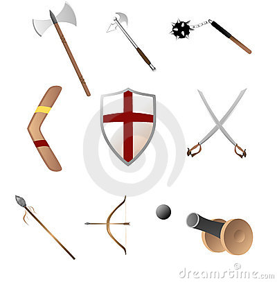 Free Medival And Primitave Weapons Royalty Free Stock Photos - 3991028