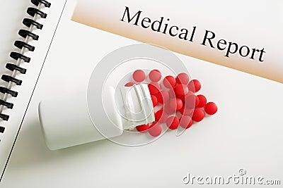Medizinischer Report-rote Tablette- und Pilleflasche