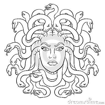 Free Medusa Greek Myth Creature Coloring Vector Royalty Free Stock Photos - 115368918